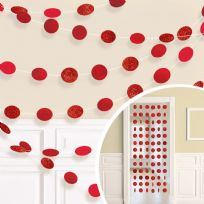 Apple Red Glitter String Decorations (6)
